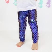 Модные Штаны для маленьких девочек волшебные цветные леггинсы «русалка» с рыбками забавные детские брюки-карандаш костюм на Хэллоуин