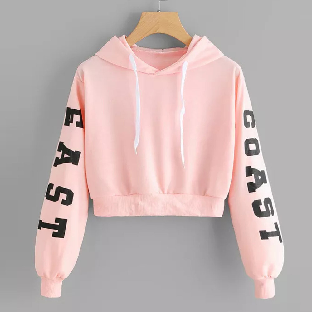 Women's Clothing 2019 Fashion Sweatshirt Women Crop Top Letter Black Plus Size Autumn Winter Coat Pullover Sweat Femme Sudadera Mujer