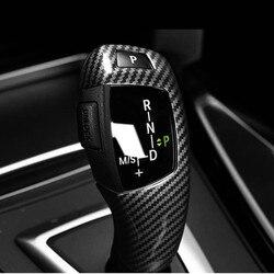 Styl z włókna węglowego zmiany biegów uchwyt pokrowiec tapicerka dla BMW F15 F16 F25 F26 F10 F18 F07 F06 F12 F13 LHD ABS samochód akcesoria w Listwy wewnętrzne od Samochody i motocykle na
