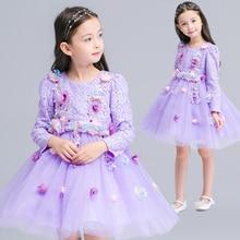 2016 European and American children's clothing girls princess dress children long-sleeved dresses girls princess dress L1808