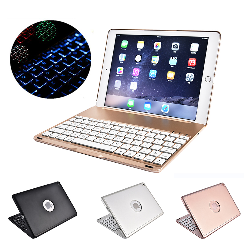 High Quality Case For iPad Pro 9.7 Inch Flip Cover Laptop Shell Wireless Bluetooth Keyboard 7 Colors Backlit Light Tablet Stand tablet keyboard for ipad 2018 case cover bluetooth wireless backlit keyboard for ipad 2017 smart cover stand 9 7 inch 2018 case