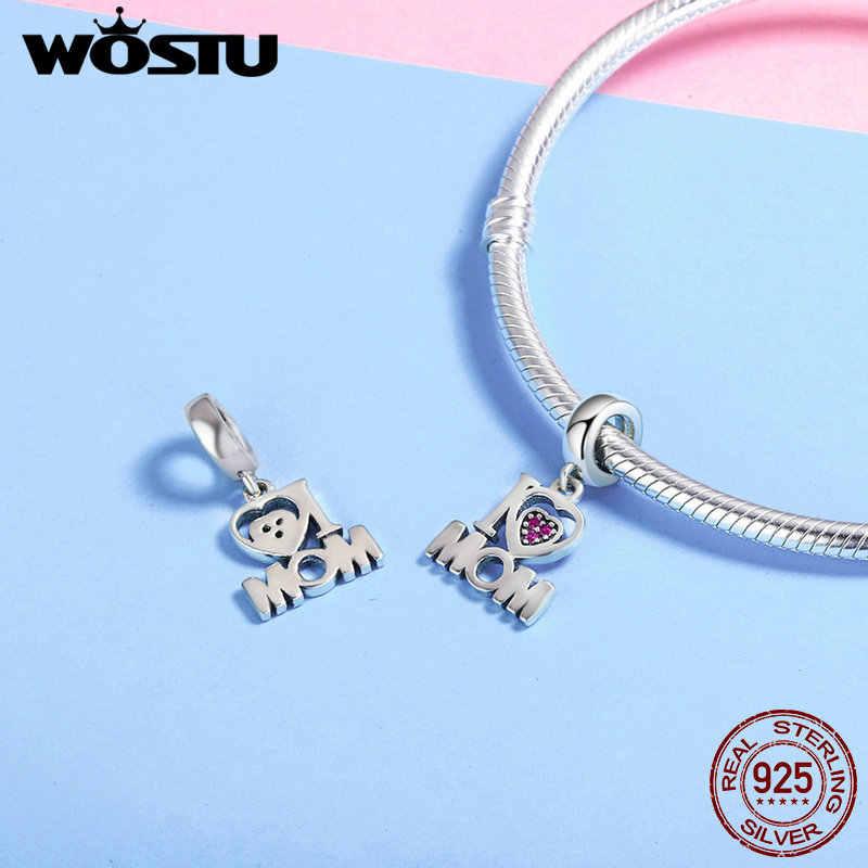 WOSTU Аутентичные 925 пробы серебро я люблю маму письмо кулон талисманы подходят оригинальный WOST Браслеты Jewelry подарок матери BKC420
