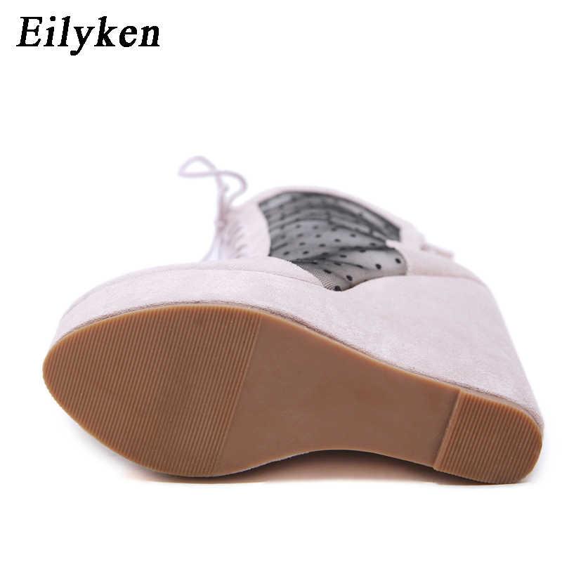 EilyKen Kış Yüksek Topuklu Kadın Çizmeler Diz Yuvarlak Ayak Takozlar Kadın Örgü Çizme platform ayakkabılar Kadınlar 2019 Yeni