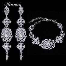 Minmin Top Crystal Bridal Jewelry Sets for Women Silver Color Bracelets Long Earrings Wedding Jewelry Sets EH182+SL031