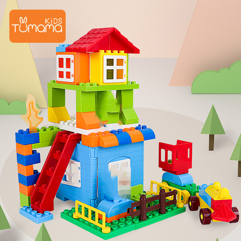 Tumama 76pcs City House Building Blocks Big Size Blocks Castle Robot Educational Toy For Kid Compatible House LegoINGly Duploedd in Blocks from Toys Hobbies