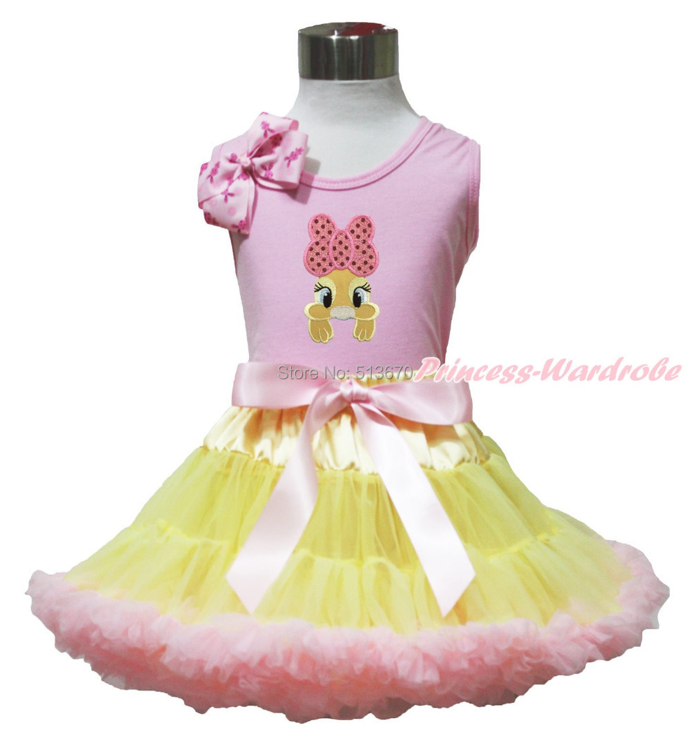 Easter Brown Dot Bunny Rabbit Pink Bow Pink Top shirt Pink Yellow Baby Girl Skirt Set 1-8Y MAPSA0500 xmas red orange yellow black roses brown top baby girl pettiskirt outfit 1 8y mapsa0038