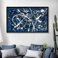 Jackson Pollock Abstract Oil Painting on Canvas Wall Art Blue and White Color Modern Painting Art Home Decoration Wall Pictures