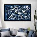 Pintura al óleo abstracta Jackson Pollock sobre lienzo arte de pared Color azul y blanco pintura moderna arte decoración del hogar imágenes de pared