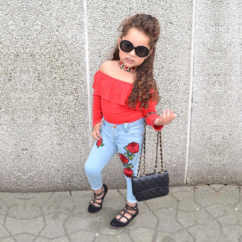 f282d8e98d39 Girls Clothes Fashion Summer Children Girls Clothing Sets Cotton Tops +  Leggings Jean Cool Baby Kids