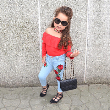 Girls Clothes Fashion Summer Children Girls Clothing Sets Cotton Tops +  Leggings Jean Cool Baby Kids 2Pcs SuitsMCC029 1