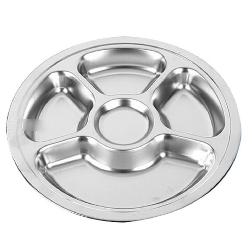1pcs Stainless Steel Students Grid Dinner Plate Dinnerware Round Plate 5 Sections-in Dishes u0026 Plates from Home u0026 Garden on Aliexpress.com | Alibaba Group  sc 1 st  AliExpress.com & 1pcs Stainless Steel Students Grid Dinner Plate Dinnerware Round ...