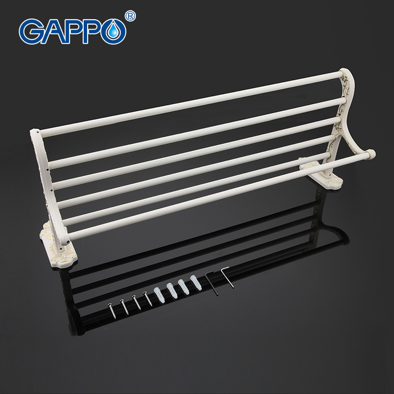 ФОТО GAPPO 1Set Top Quality Wall Mounted 60cm Towel Bar in six racks Towel Holder hook restroom Towel Rack Bathroom accessories G3524