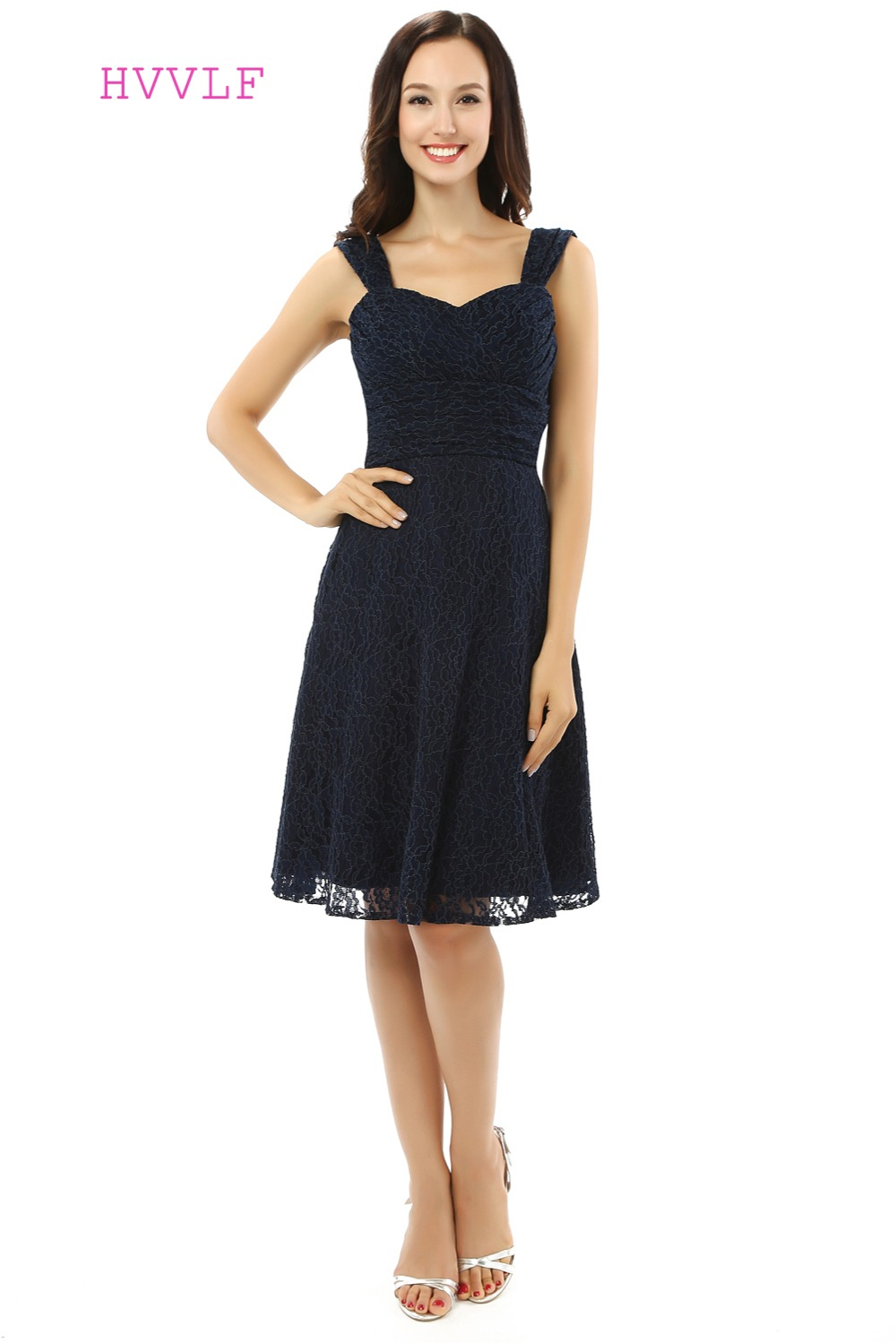 HVVLF 2019 Cheap   Bridesmaid     Dresses   Under 50 A-line Sweetheart Knee Length Navy Blue Lace Wedding Party   Dresses