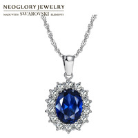 Neoglory Austria Crystal & Zircon & S925 Silver Plated Charm Pendant Necklace Classic Princess Titanic Blue For Stylish Queen