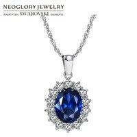 Neoglory Austria Kryształ & Cyrkon & S925 Posrebrzane Charm Naszyjnik Klasyczne Księżniczka Titanic Niebieski Dla Stylowe Queen