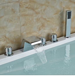 Bright Chrome Bathroom Bathtub Faucet with ABS Handshower Three Handles Deck Mounted bright chrome bathtub faucet three handles with handshower tub filler spout wall mounted shower faucets