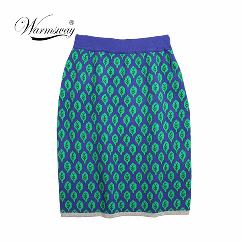 Autumn Winter Women Leaf Jacquard Knitted Pencil Skirts Stretch High Waist Knee Length Slim Office Lady Bodycon Skirt C-081