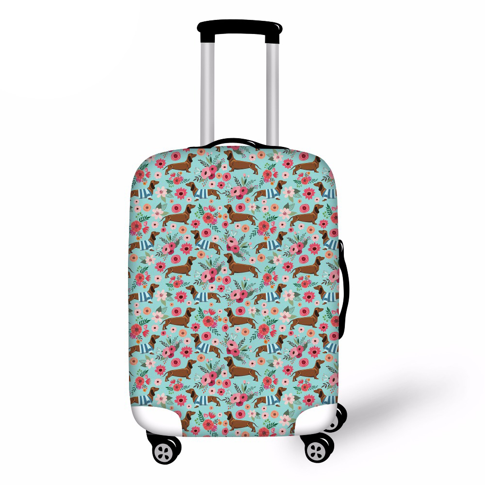 Travel Luggage Suitcase Protective Cover Dachshund Dog printed Stretch Dustproof