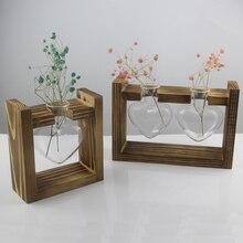 Винтажный стиль любовь сердце форма прозрачное стекло Настольный завод Бонсай ваза для цветов Свадебная вечеринка Декоративный Террариум с деревянным поддоном