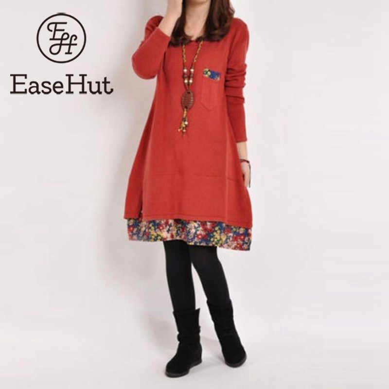 c83ee360054 EaseHut Плюс Размер Тонкое винтажное женское платье Весна Осень цветочный  принт карман уличная пэчворк с длинным