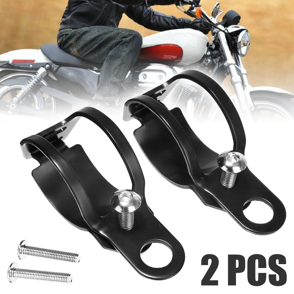 Motorbike 1Pair Universal Motorcycle Turn Signal Lamp Headlight Mount Bracket Black Metal Clamp Holder For 33 43mm Front Fork in Headlight Bracket from Automobiles Motorcycles