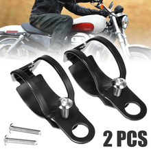 Motorbike 1Pair Universal Motorcycle Turn Signal Lamp Headlight Mount Bracket Black Metal  Clamp Holder For 33 43mm Front Fork