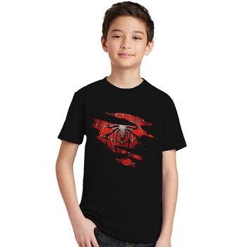 Baby Boys Summer Spider-man Tearing T Shirt Boy Short-sleeved Spider Man T-shirt Kids Cotton Fashion Black Top Tee spiderman