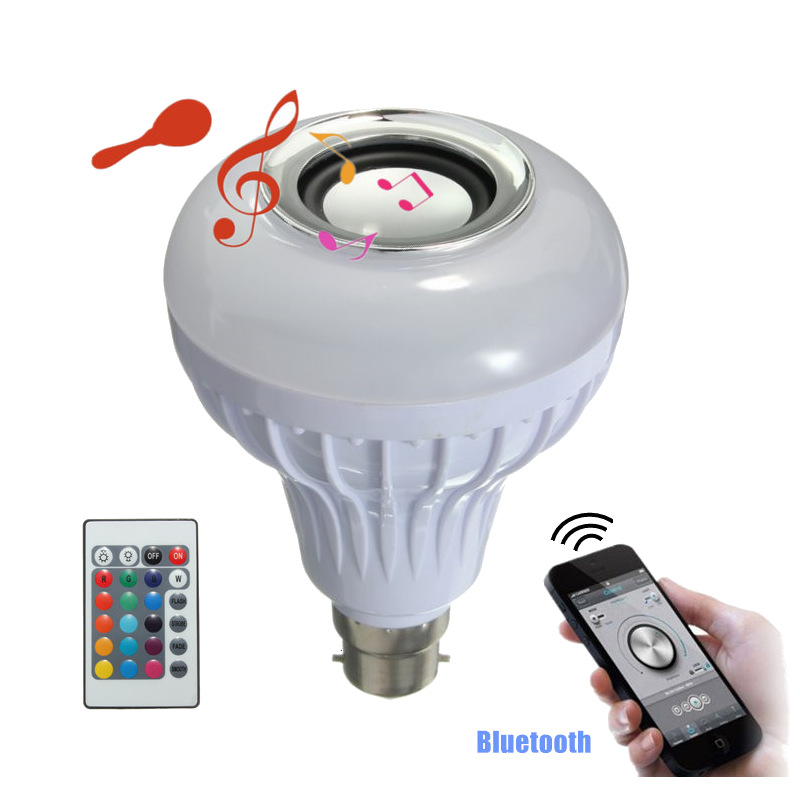 AC100-240V 12W B22 LED RGB White Wireless Bluetooth Speaker Light Bulb Music Playing Audio Lamp With 24 Keys Remote Control