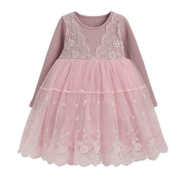 43cdc3ef46a3e1 Herbst winter Mädchen Kleid 2017 Beiläufige Lange Ärmeln laceMesh Kinder  Kleider Für Kleidung Nette Prinzessin