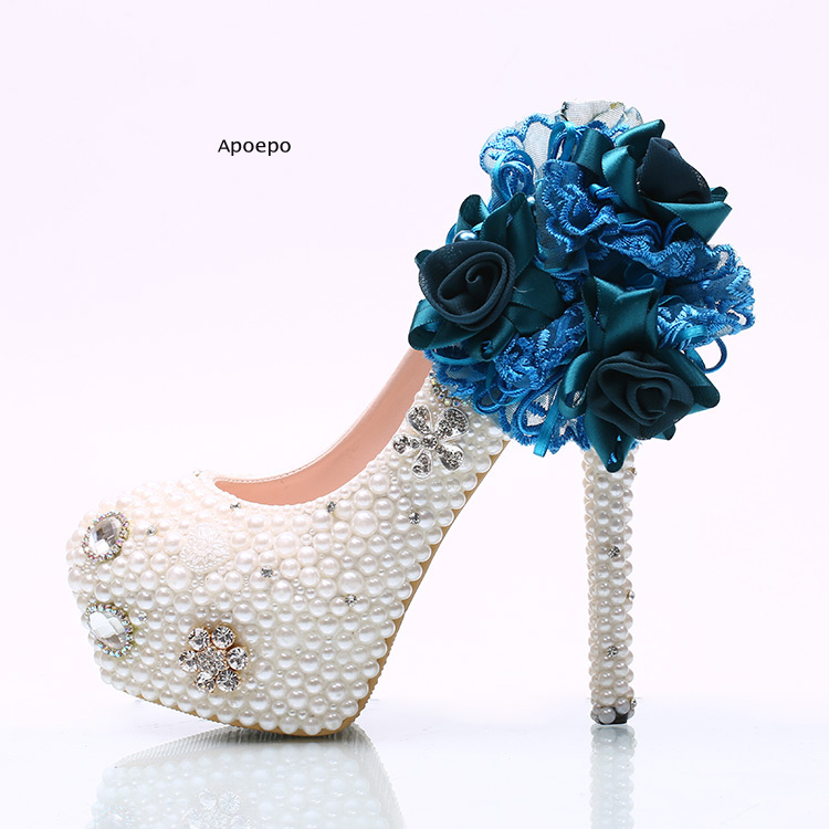 New Newest Royal Blue Lace Flower Embroidery High Heel Shoes White Pearls Beaded Wedding Heels Woman Platform Pumps ivory fashion lace flowers flat heel wedding shoes woman pearls ankle beading beaded anklet sweet flower girls bridesmaid shoes
