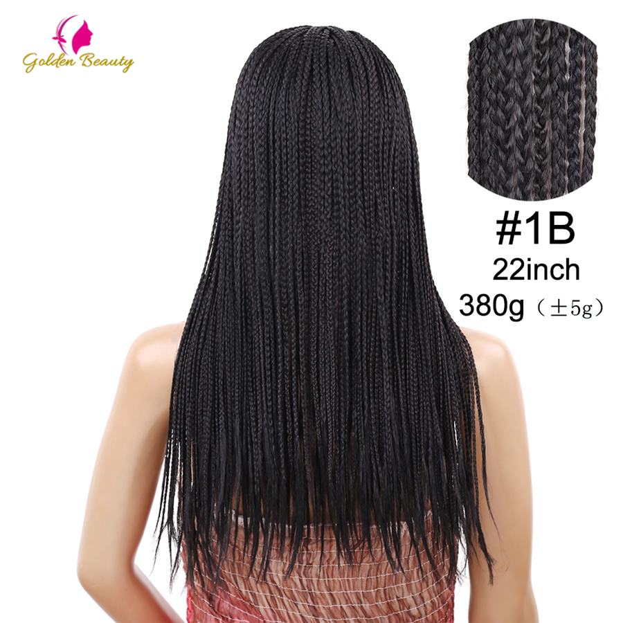 Image 4 - Golden Beauty 22inch Long Braided Box Braids Wig Natural Black Brown Synthetic Braiding Hair Wig for African Women-in Synthetic None-Lace  Wigs from Hair Extensions & Wigs