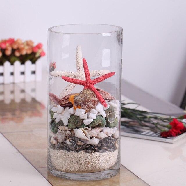 Straight Transparent Glass Vase Combination Modern Brief Flower