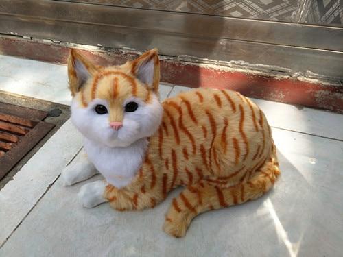 big simulation lying cat model polyethylene&fur yellow stripe cat doll gift about 30x20cm 1717