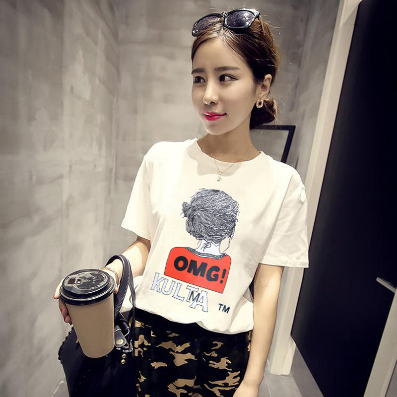 17d9297c86a Korean Style Summer Female T-shirt Wholesale Casual Lady Brand Tops Tee  Happy Letter Print Women s T Shirts Loose T-Shirt BTS