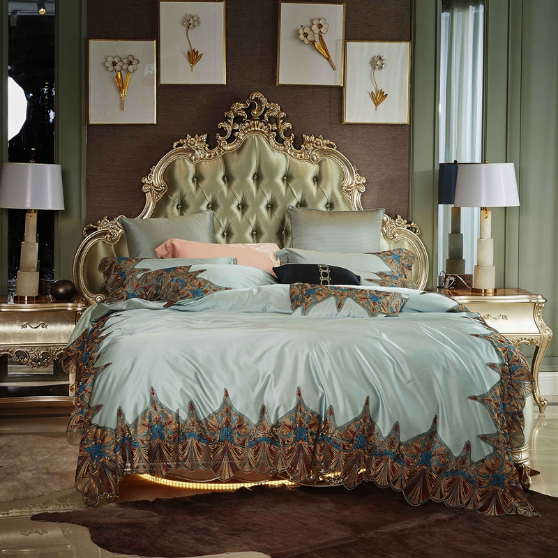 Luxury Lace Embroidery 100S Silk Cotton Palace Bedding Set Blue Gray Duvet Cover Bed Sheet/Linen Pillowcases Queen King Size