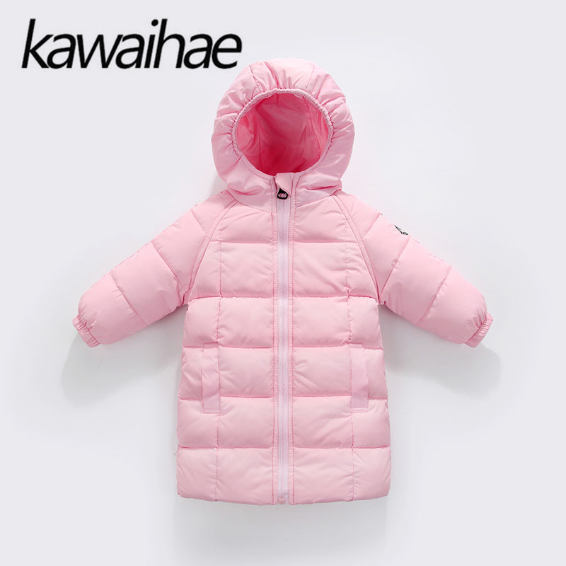 Winter Long Kids Down Parkas Girls Boys Clothes Jacket Coat Warm Outerwear Children Clothing Casual Windbreaker Brand Kawaihae children winter coats jacket baby boys warm outerwear thickening outdoors kids snow proof coat parkas cotton padded clothes