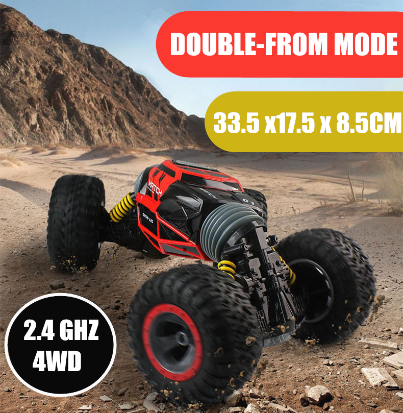 One Key Transformation RC Car Scale Double-sided 4WD Truck 2.4GHz All-terrain Vehicle Varanid Climbing Car Remote Control Toys double sided 2 4ghz rc car one key transform all terrain off road vehicle varanid climbing truck remote control toys