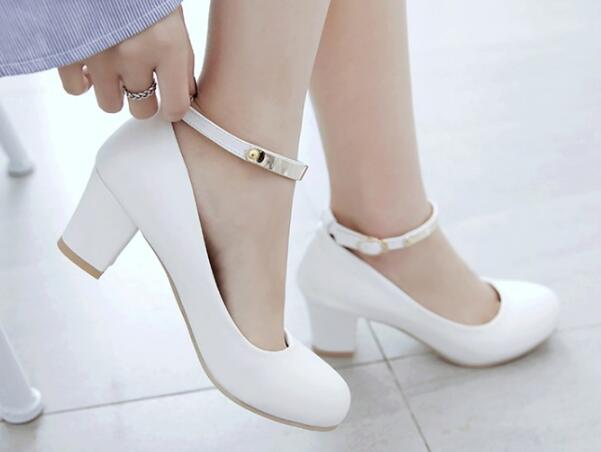 La pink Femmes Pompes Chunky Mujer Zapatos white Hauts Feminino Talons  Femme Chaussures À Dames P170529 Mariage Chaussure Sexy ... 15ab2f9b5ddb