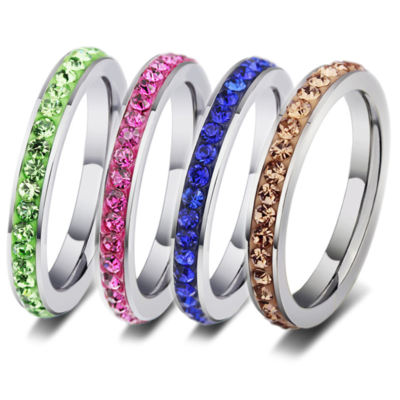 New Colorful Stainless Steel Crystal Stone Rings Titanium Steel Plated Wedding Rings Party Gift