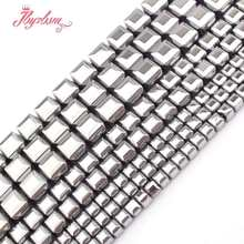 "3,4,6,8mm Faceted Cube Silver Hematite Beads Natural Stone Bead For Necklace Bracelets Earring Jewelry Making 15"" Free Shipping(China)"