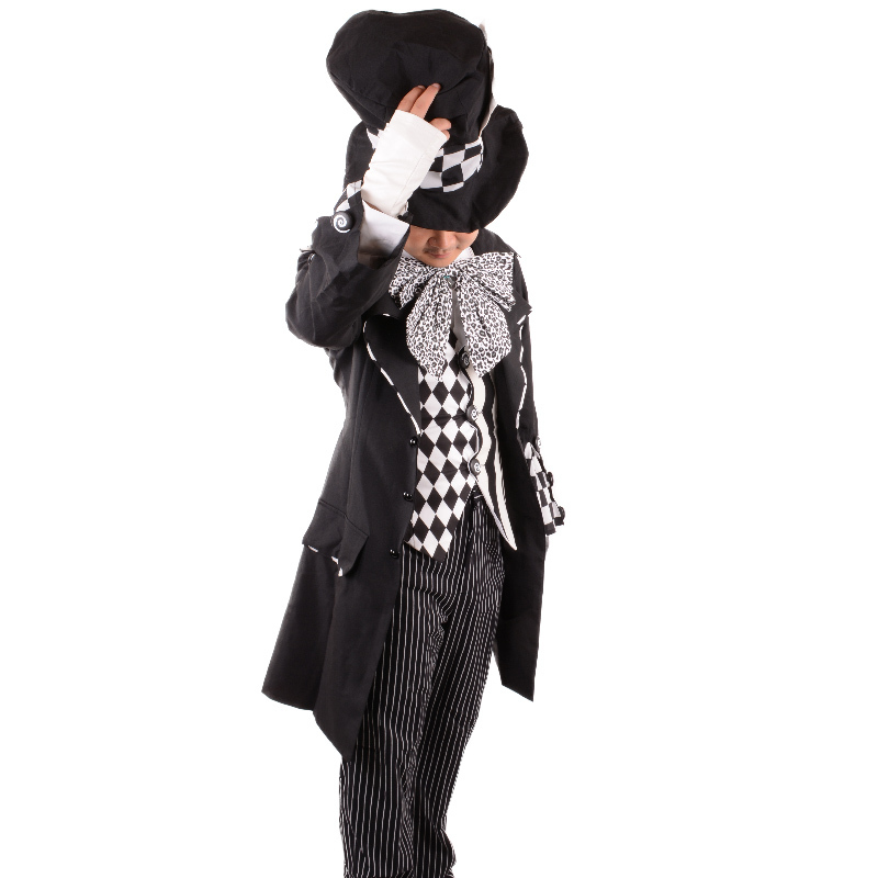Adult Mens Gothic Black Mad Hatter Costume