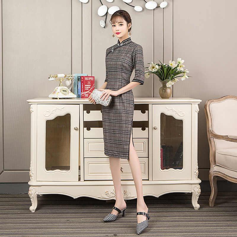 Новое поступление китайский для женщин элегантный шерстяной плед половина леди Qipao ручной работы и пуговицы Cheongsam сексуальное платье костюмы