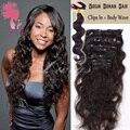 Nova Moda das mulheres por atacado grampo na extensão do cabelo humano da onda do corpo 9 pcs Brasileiro virgem extensões de cabelo humano originais
