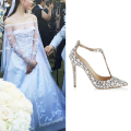 2016 Luxury Diamond Wedding Shoe Jeweled Heel Gladiator Sandals Women Rhinestone Crystal Embellished T Strap Summer Party Shoes