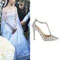 2016 Zapatos de Boda de Diamante de Lujo Jeweled Tacón Gladiador Sandalias Mujeres Rhinestone Crystal Embellecido T Correa Zapatos de Fiesta de Verano