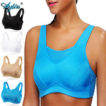 Ayliss latest 1pc Blue Full Cup Professional Absorb Sweat Top Athletic Sport Bra High Impact Wire free Plus Size Ladies Outdoor