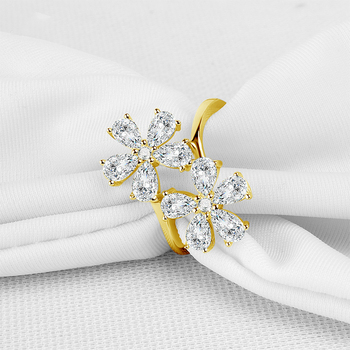 Yellow Artificial Flowers | AINUOSHI 14K Solid Yellow Gold Flower Ring Vintage Micro Pear Cut Simulated Diamond Wedding Engagement Cluster Ring For Women