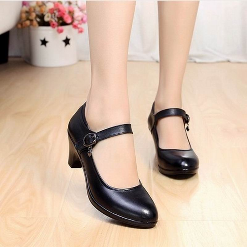 Fashion Spring Thick Heels Women Pumps Genuine Leather Work Shoes Woman High Heels Casual Women Shoes basic pump