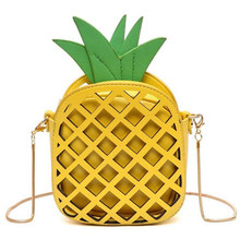 2017 New Ideas Design Cute Pineapple Handbag For Women Mini Messenger Bag With Chain Hollow Out Women Bag Crossbody Tote