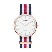 CASIMA Men's Dress Watch Casual Classic Quartz WristWatch Business Analog Watches Multicolor Striped Nylon Band Reloj Hombre
